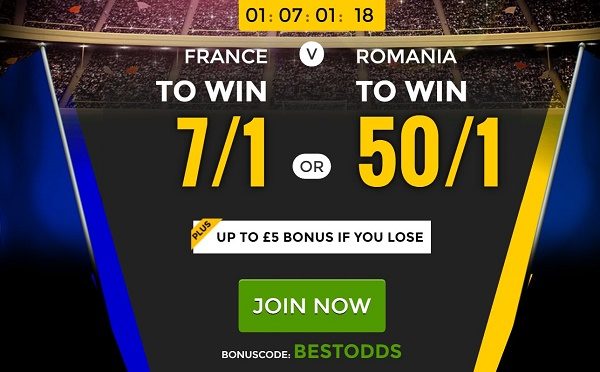 France vs Romania enhanced odds